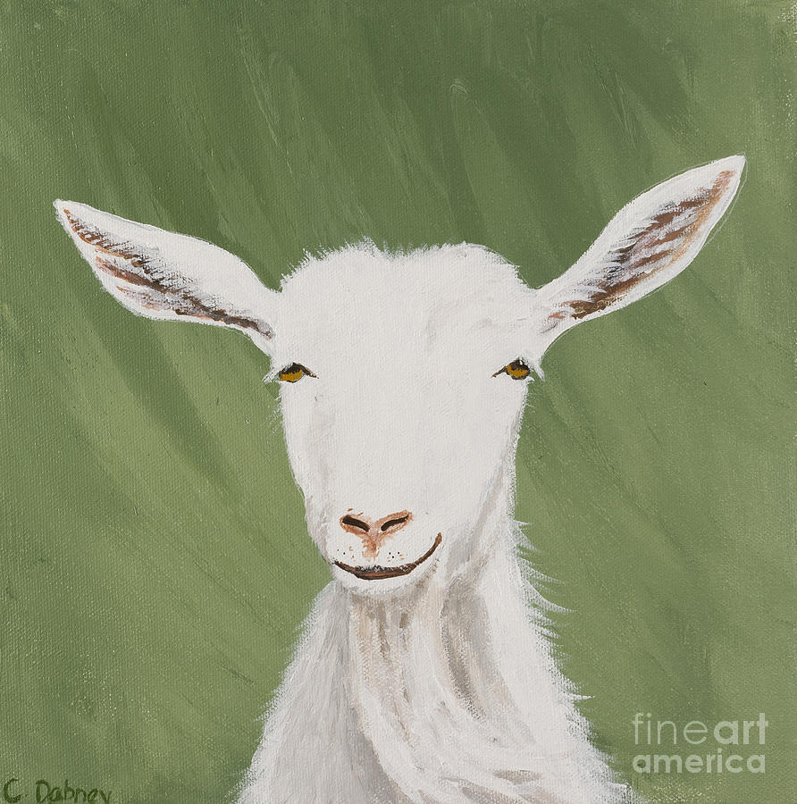 White Goat Painting - Gwendolyn by Carla Dabney