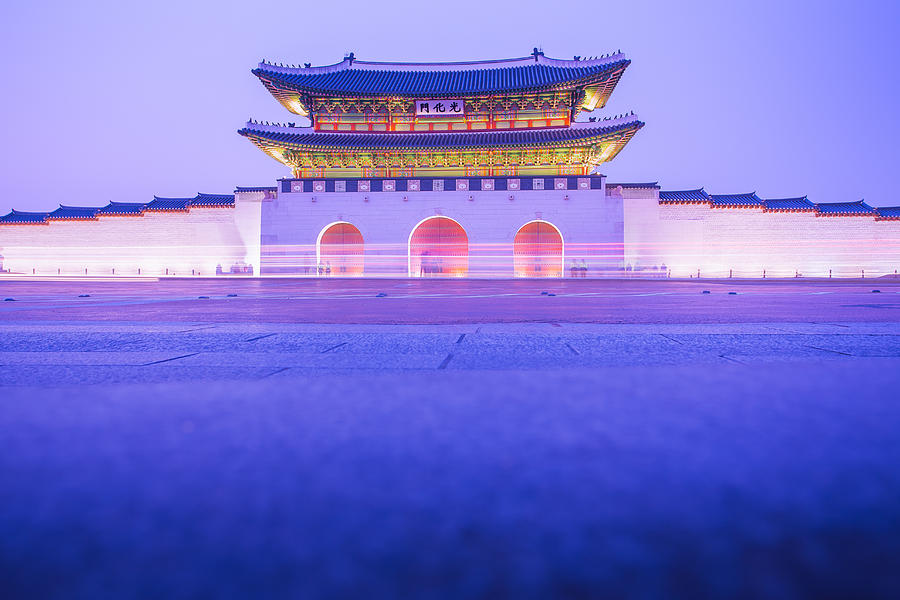 Abstract Photograph - Gyeongbokgung Palace In Seoul South Korea by Nattee Chalermtiragool