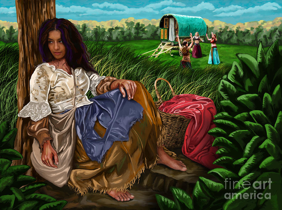 Gypsy Girl And Wagon Painting By Tim Gilliland