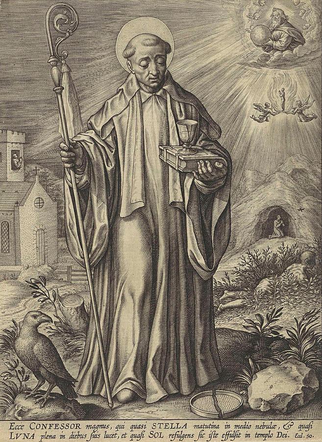 Abbot Drawing - H Benedict Of Nursia, Hieronymus Wierix by Hieronymus Wierix