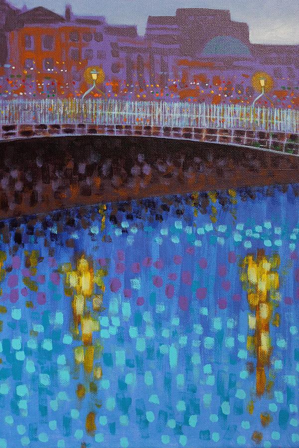 Dublin Painting - Ha Penny Bridge Dublin  Cropped 1 by John  Nolan