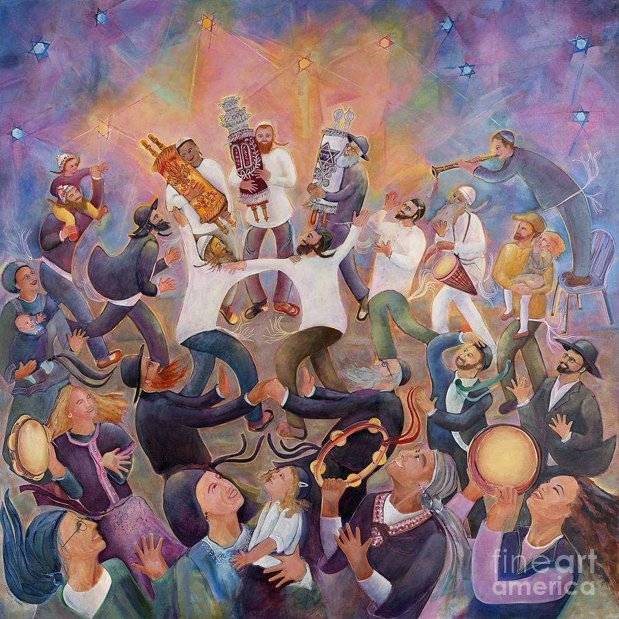 Torah Painting - Hachnasat Sefer Torah by Chana Helen Rosenberg