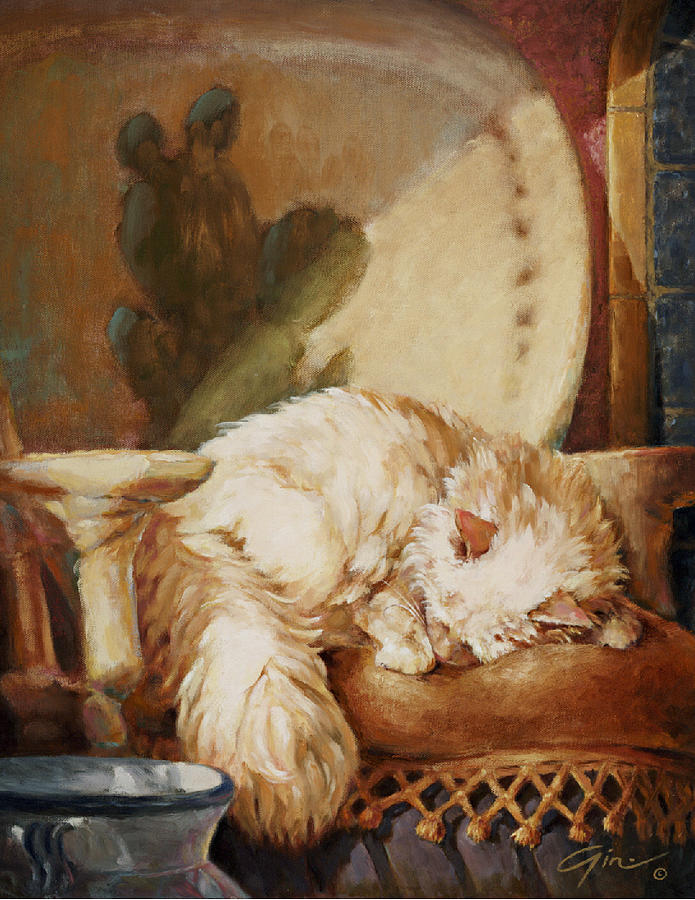 Cat Painting - Hacienda Afternoons by Gini Heywood