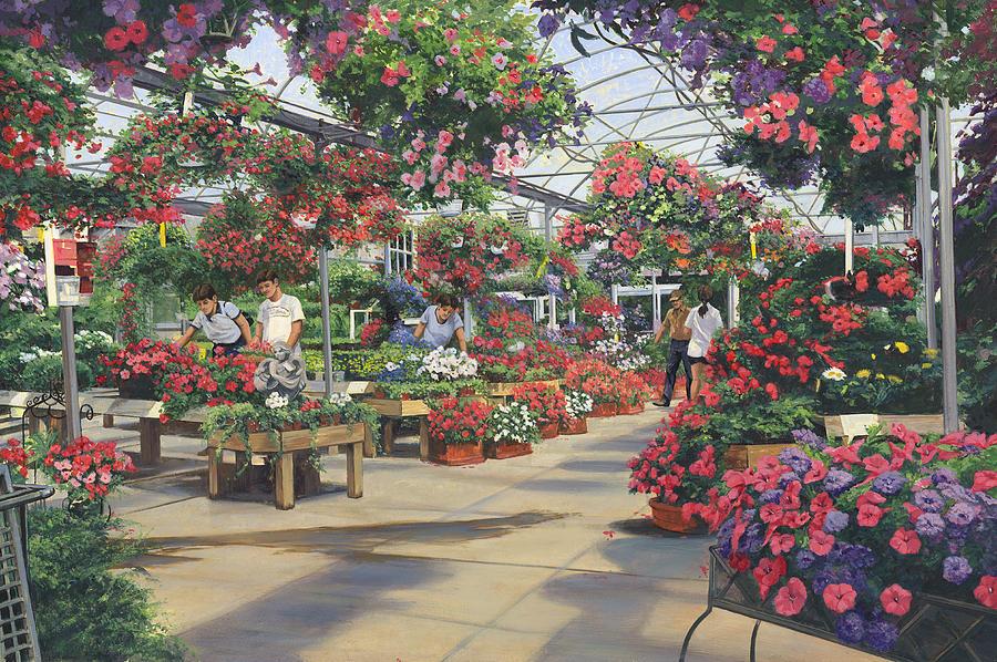 Nursery Painting - Spring Hanging Flowers Haefners Garden Center by Don  Langeneckert