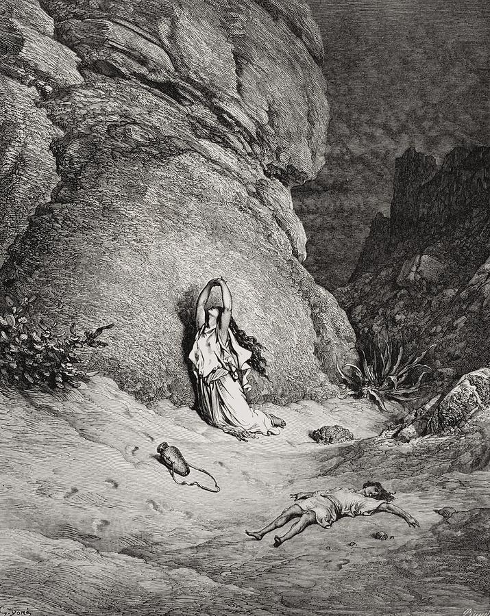Egyptian Slave Painting - Hagar And Ishmael In The Desert by Gustave Dore