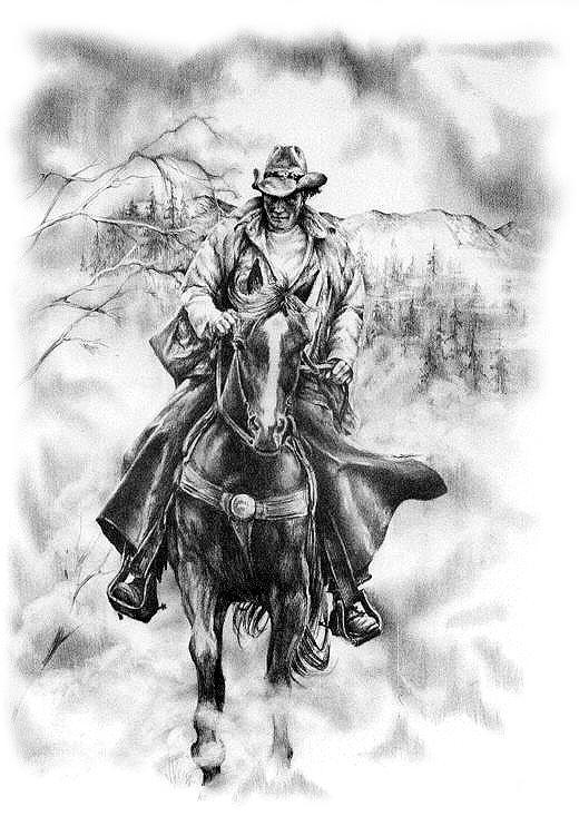 Cowboy Drawing - Hagen by Jonni Hill