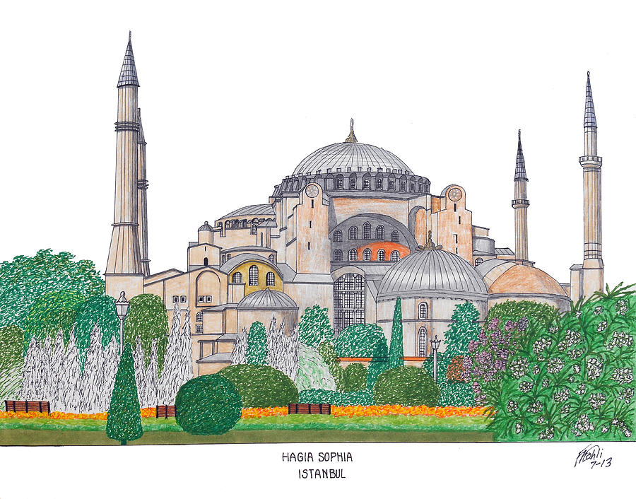Historic Buildings Drawings Drawing - Hagia Sophia Istanbul by Frederic Kohli