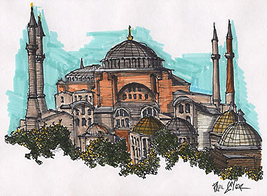 Hagia Sophia Istanbul Turkey Drawing by Paul Guyer