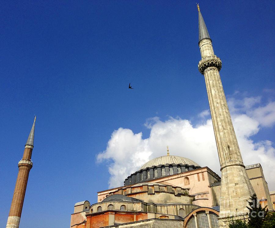 Hagia Sophia Photograph - Hagia Sophia With Two Minarets Istanbul Turkey by Ralph A  Ledergerber-Photography