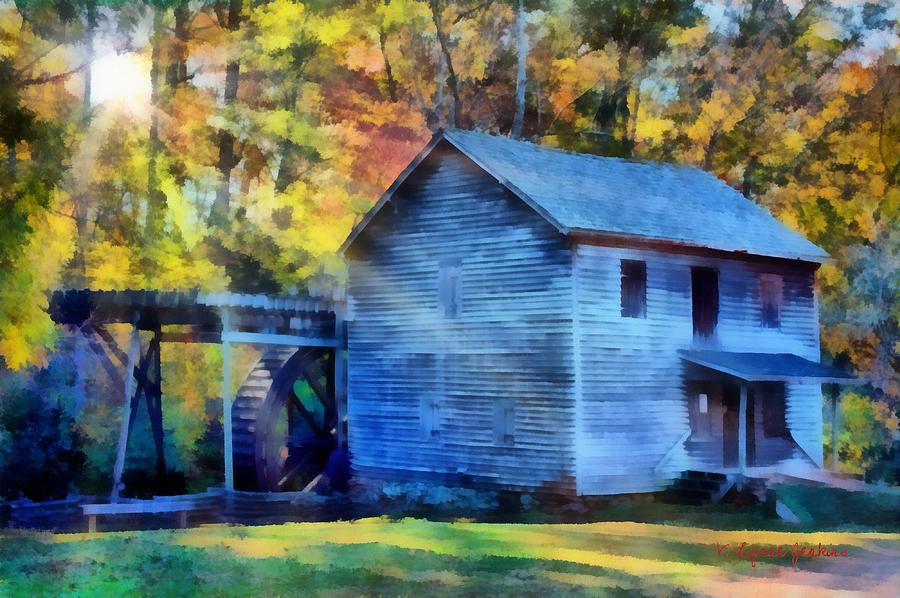 Grist Painting - Hagood Mill With Sunrays by Lynne Jenkins