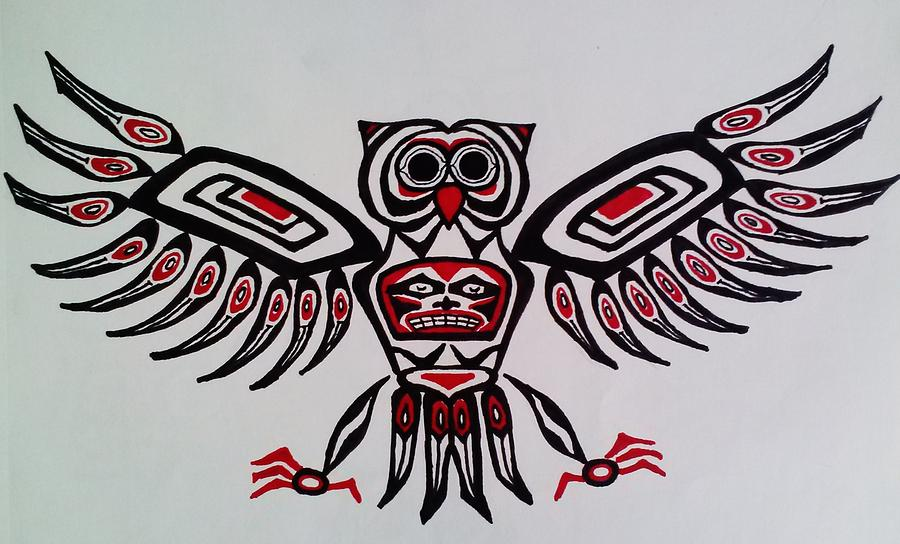 Haida Owl Drawing By Maria Hatefi