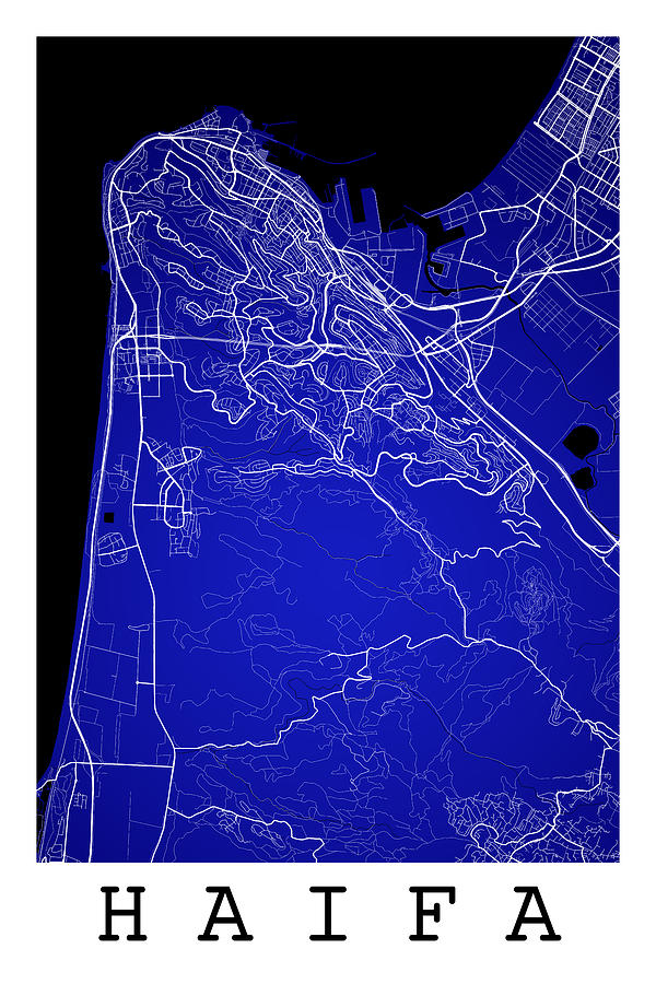 Haifa Street Map Haifa Israel Road Map Art On Color Digital Art by