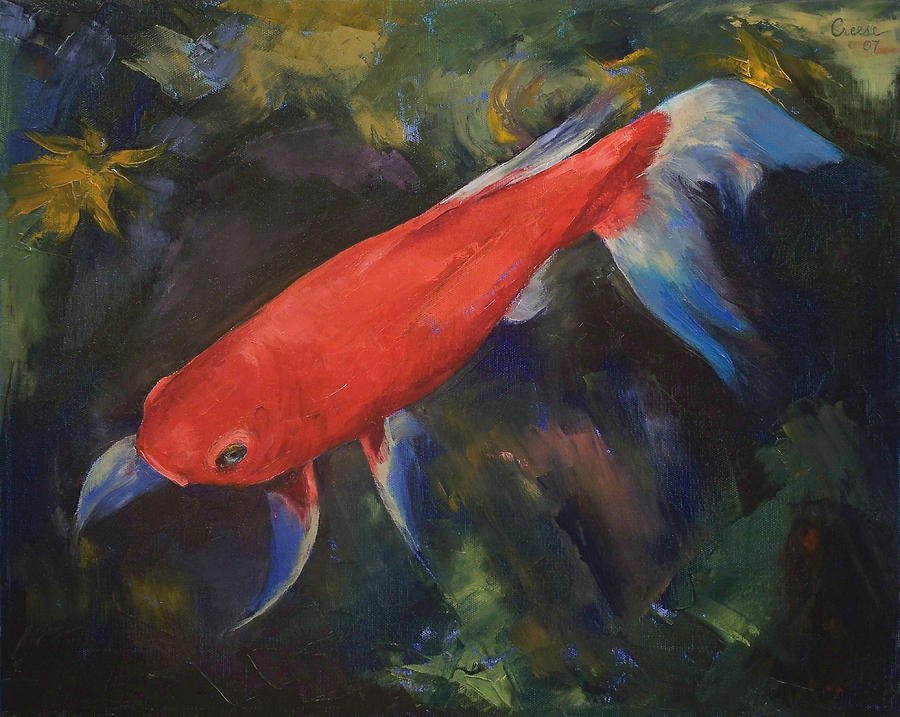 Haiku koi fish painting by michael creese for American koi fish