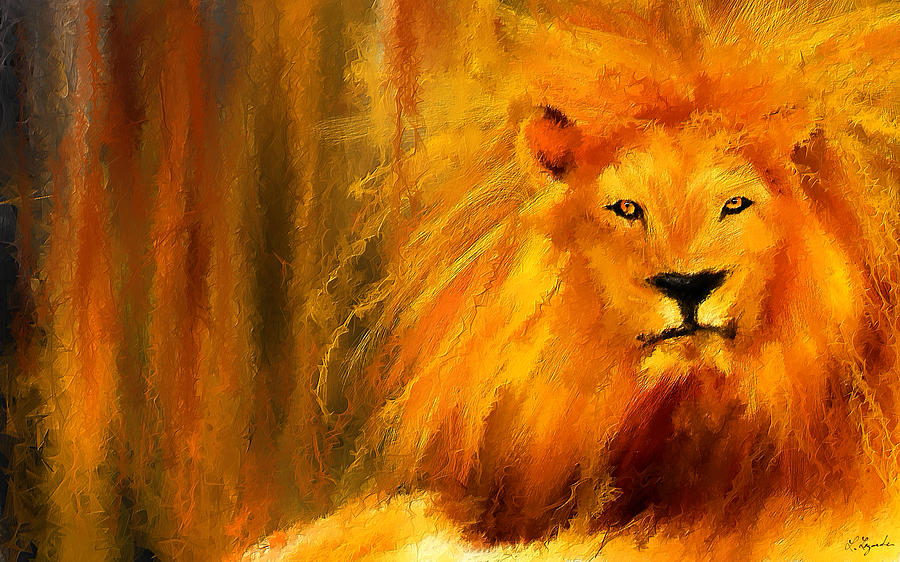 Lion Portrait Painting - Hail The King by Lourry Legarde