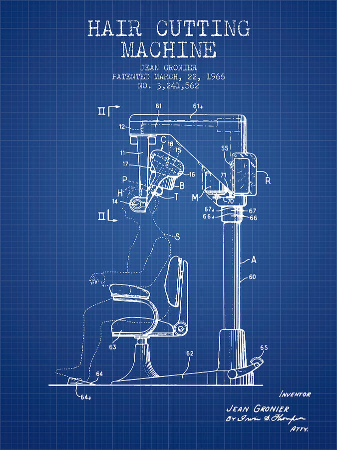 Hair cutting machine patent from 1966 blueprint digital art by barber digital art hair cutting machine patent from 1966 blueprint by aged pixel malvernweather Images