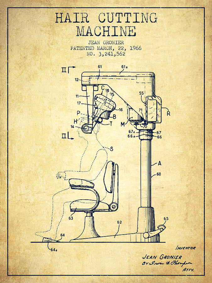 Hair Cutting Machine Patent From 1966 - Vintage on
