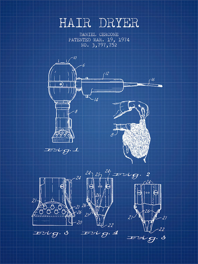 Hair dryer patent from 1974 blueprint digital art by aged pixel hair dryer digital art hair dryer patent from 1974 blueprint by aged pixel malvernweather Images