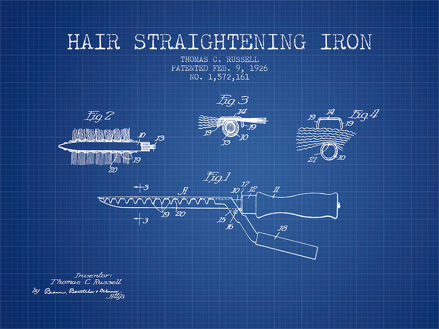 Hair straightening iron patent from 1926 blueprint digital art by hair straightener digital art hair straightening iron patent from 1926 blueprint by aged pixel malvernweather Images