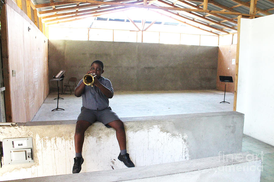 Boy Photograph - Haitian Boy Plays Trumpet by Jim Wright