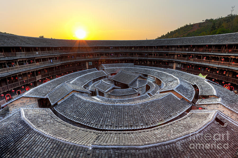 Ancient Photograph - Hakka Tulou Traditional Chinese Housing At Sunset by Fototrav Print