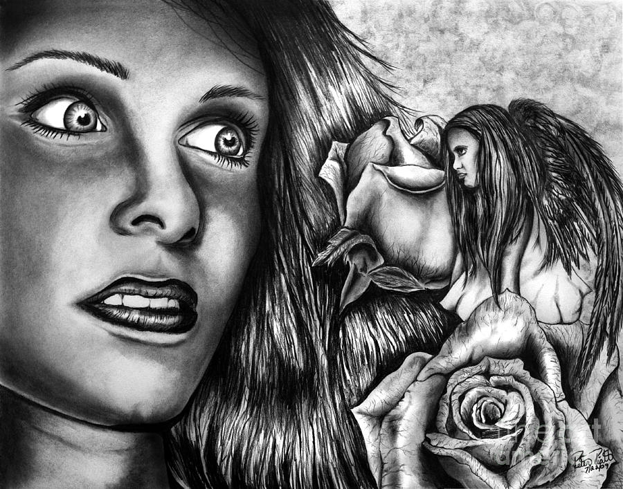 Apparition Drawing - Haleys Apparition by Peter Piatt