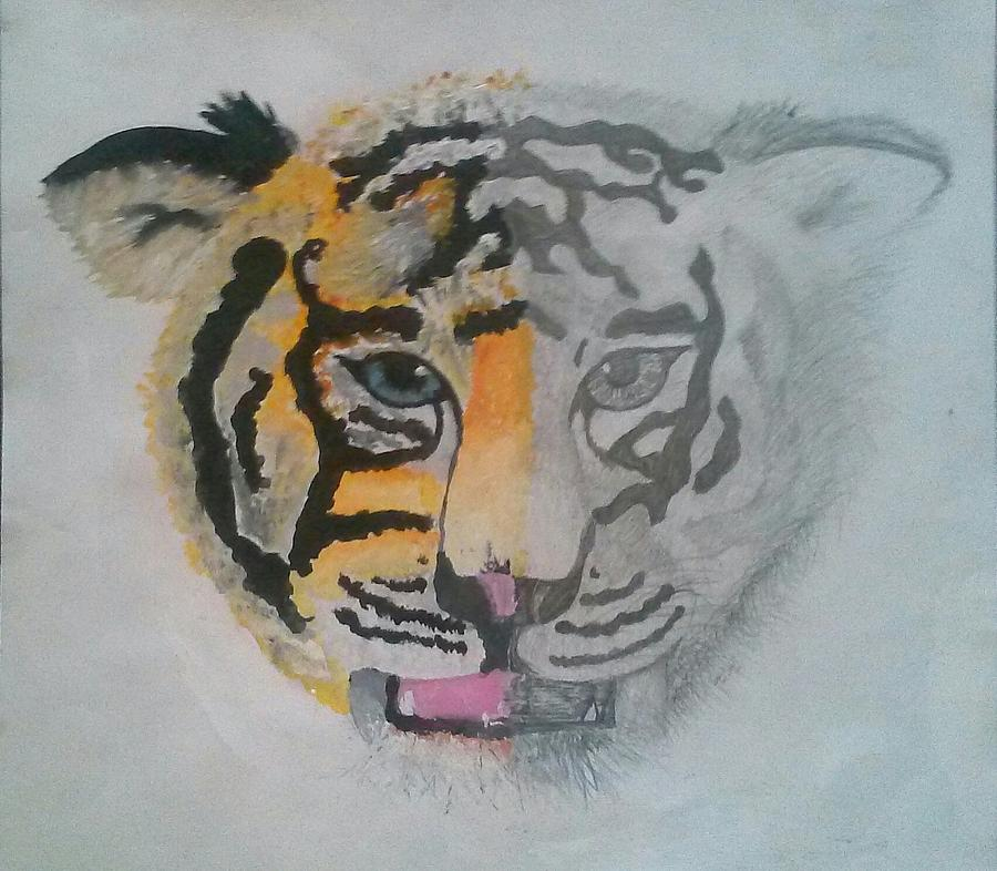 Black And White Mixed Media - Half And Half Tiger by Kendya Battle