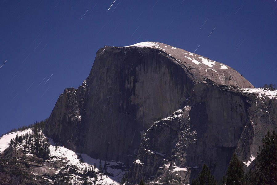 Half Dome Photograph - Half Dome and star trails by Richard Berry