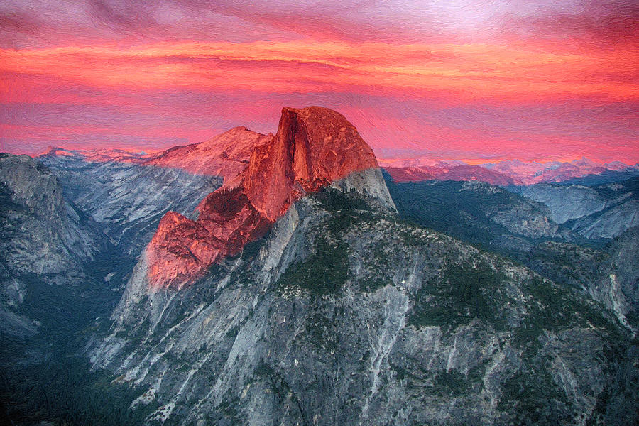 Sunset Painting - Half Dome Sunset From Glacier Point by John Haldane