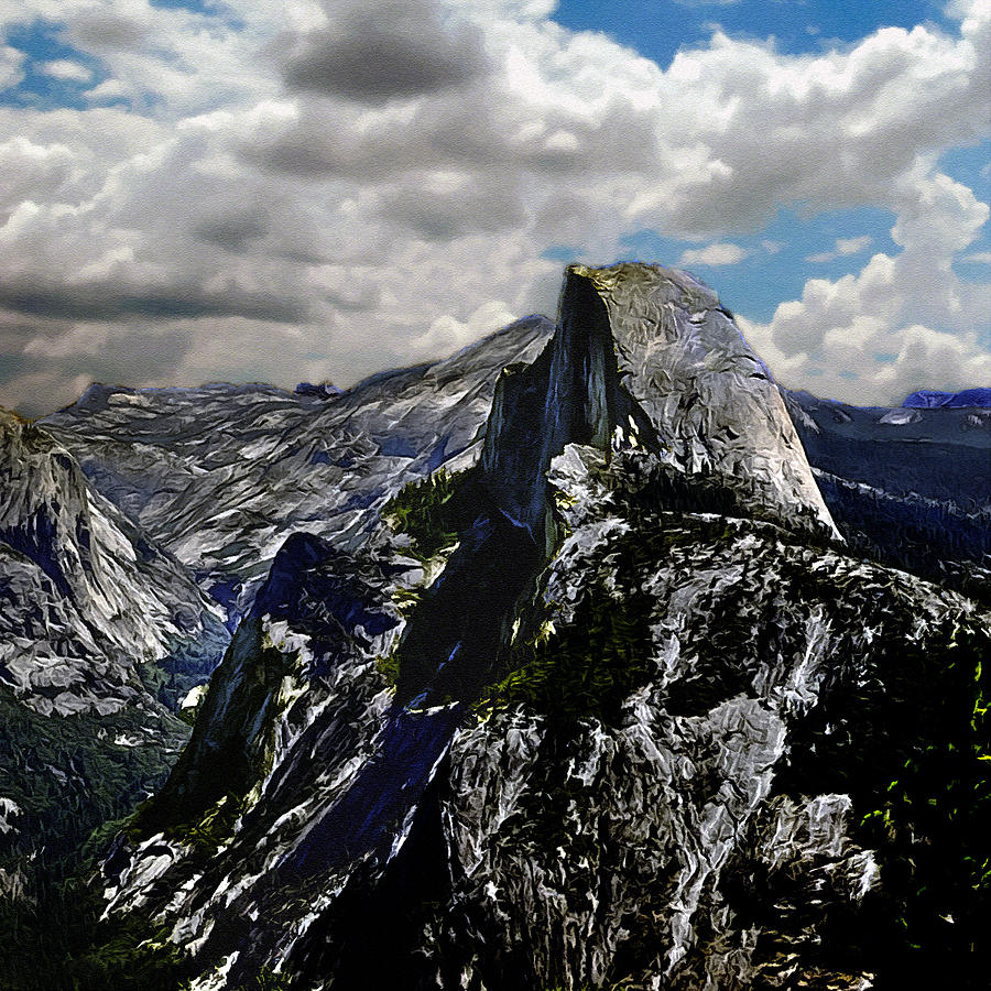 Eco-tourism Painting - Half Dome Yosemite by Bob and Nadine Johnston