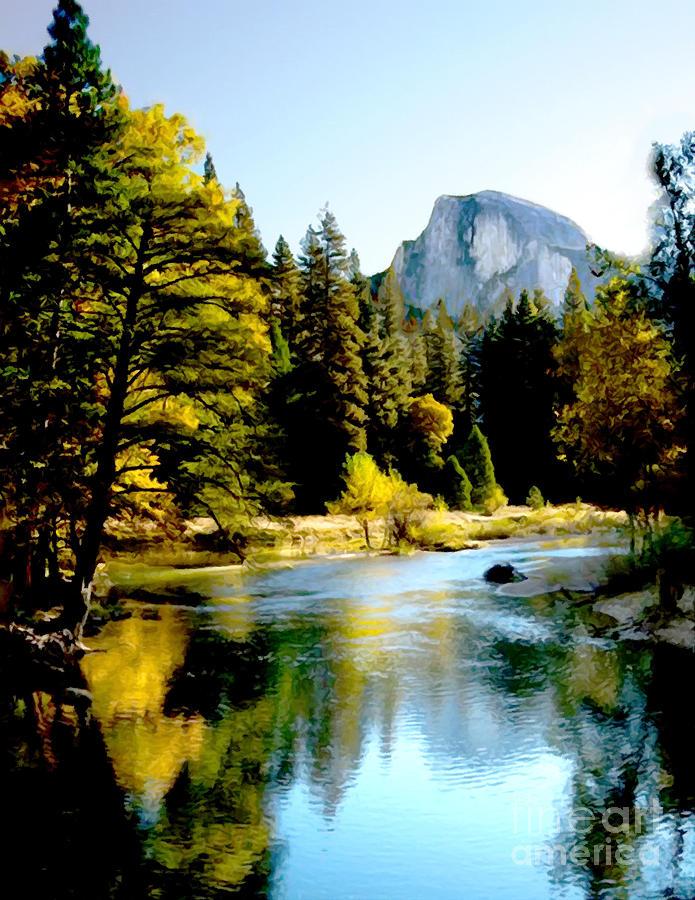 Yosemite Painting - Half Dome Yosemite River Valley by Bob and Nadine Johnston
