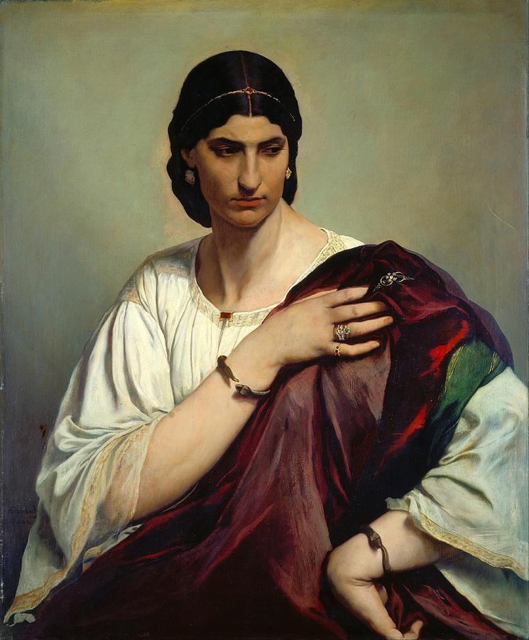 Anselm Feuerbach Painting - Half-length Portrait Of A Roman Woman by Anselm Feuerbach