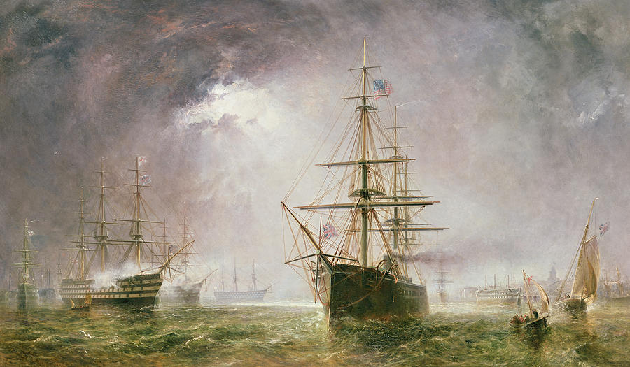 Sea; Battle Painting - Half Mast High 19th Century by  Robert  Dudley