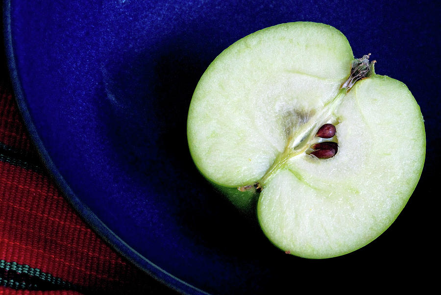 Half Of A Green Apple In A Blue Bowl Photograph by Rebecca E Marvil