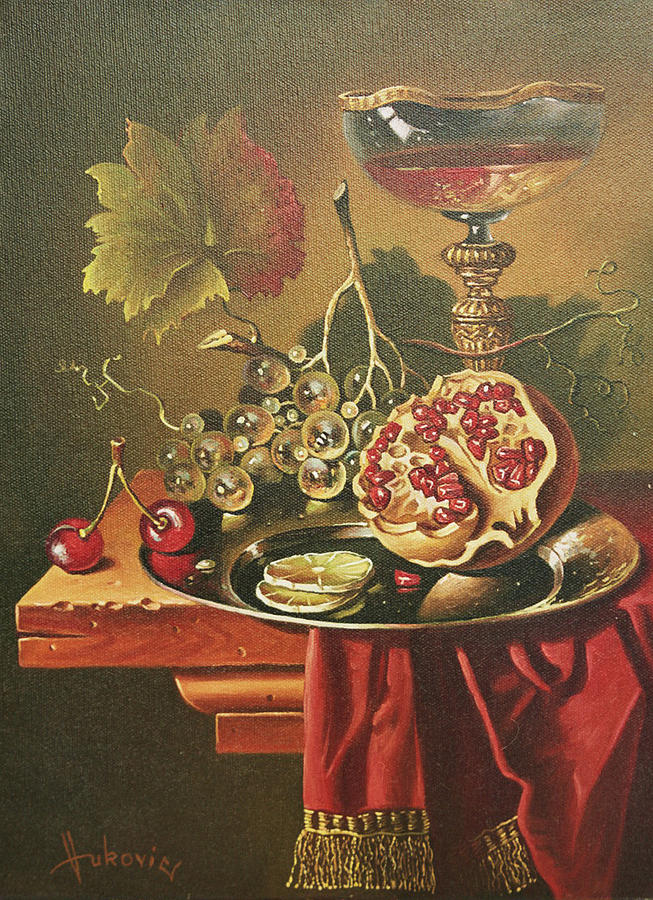 Still Life Painting - Half Of Pomegranate For You by Dusan Vukovic