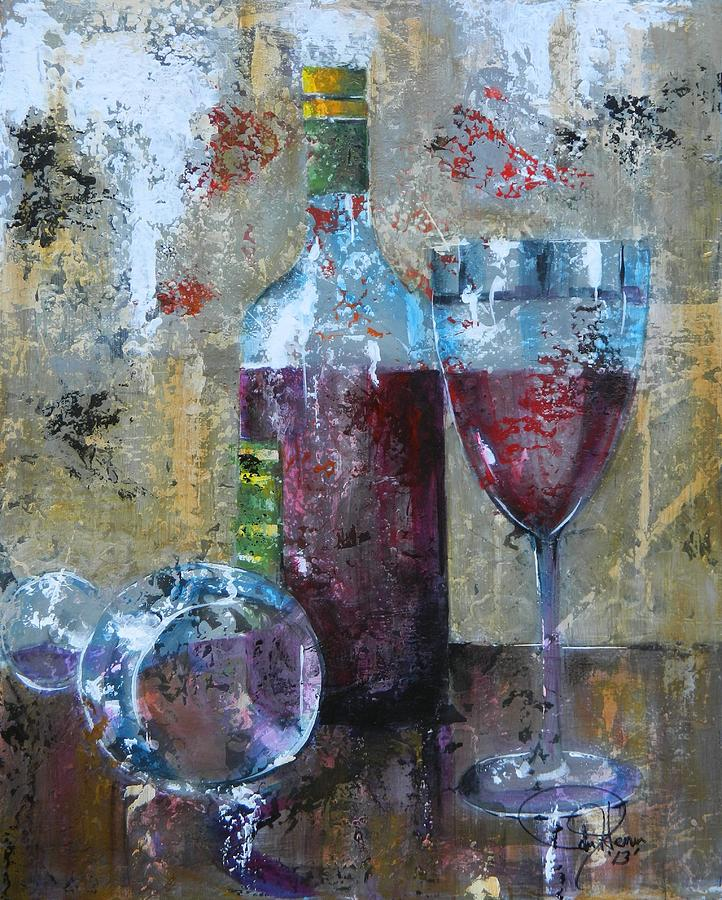 Wine Abstract Painting - Half Savored II by John Henne