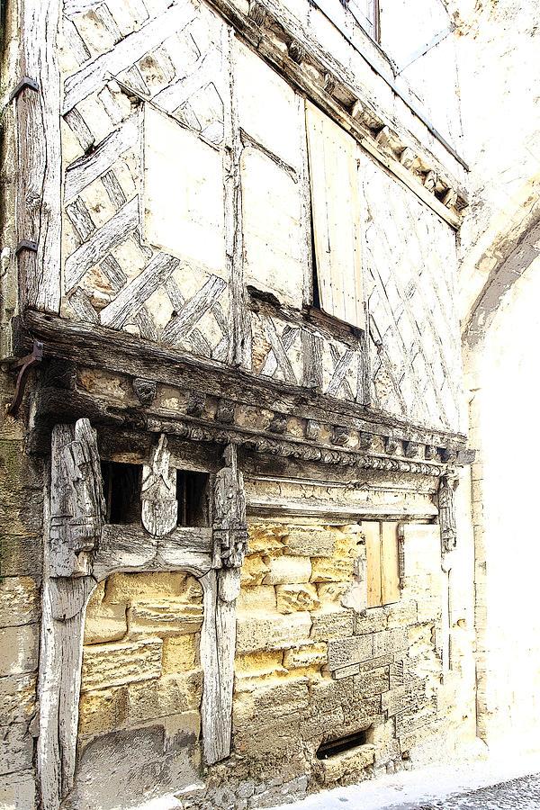 Half-timbered Facade In Saint-emilion Photograph