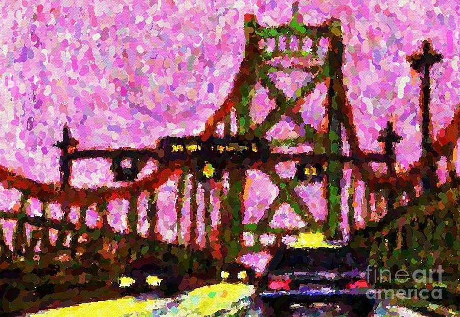 Bridges Painting - Halifax Macdonald Bridge Pointillist by John Malone