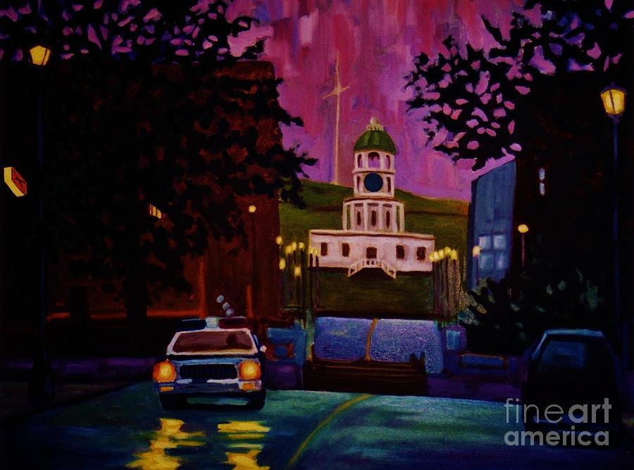 Halifax Town Clock Painting - Halifax Night Patrol And Town Clock by John Malone