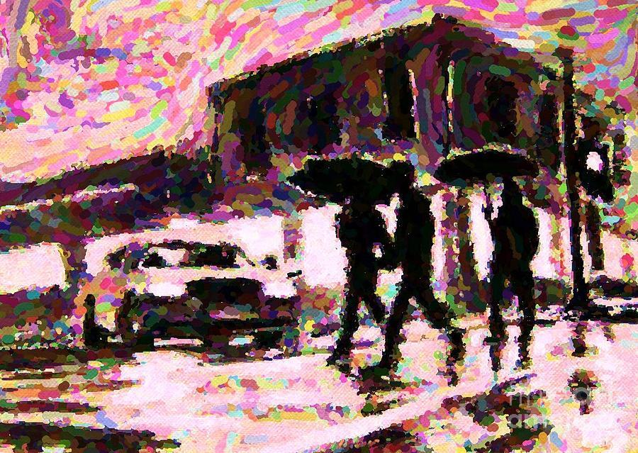 Landscape Paintings Digital Art - Halifax Nova Scotia On In The Rain by John Malone johnmaloneartistcom