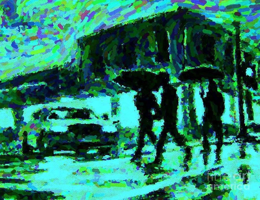 Landscape Paintings Digital Art - Halifax On A Rainy Night by Halifax Artist John Malone