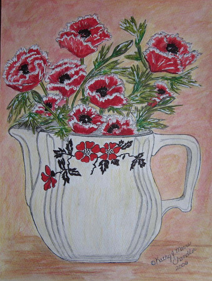 Hall China Painting - Hall China Red Poppy And Poppies by Kathy Marrs Chandler