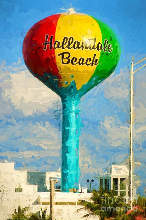 Hallandale Photograph - Hallandale Beach Water Tower by Les Palenik