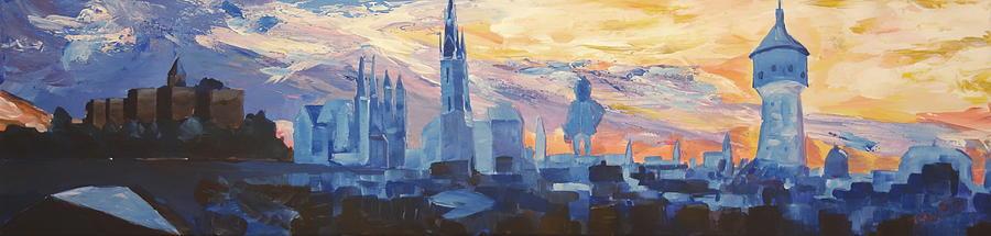 Bleichner Painting - Halle Saale Germany Skyline by M Bleichner