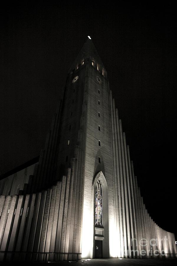 Angle Photograph - Hallgrimskirkja Church At Night by Deborah Benbrook