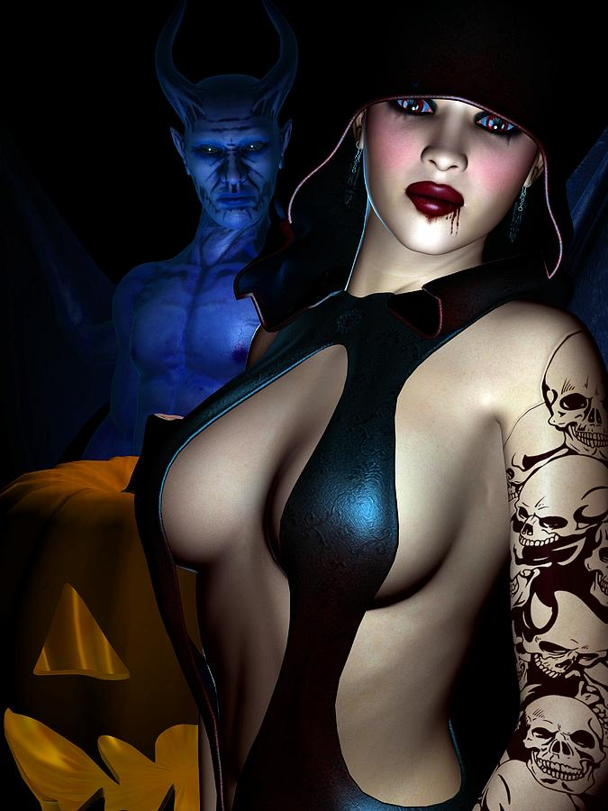3d Digital Art - Halloween by Alexander Butler