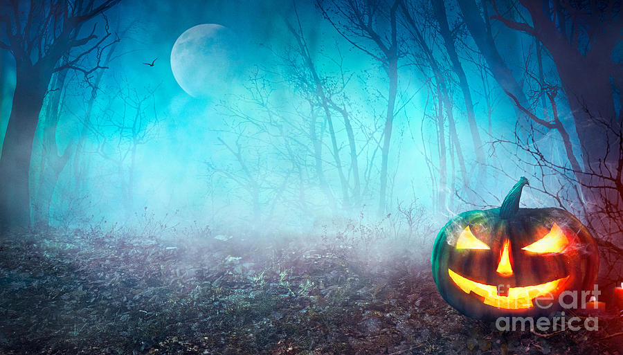 Castle Photograph - Halloween Background. Spooky Pumpkin by Mythja