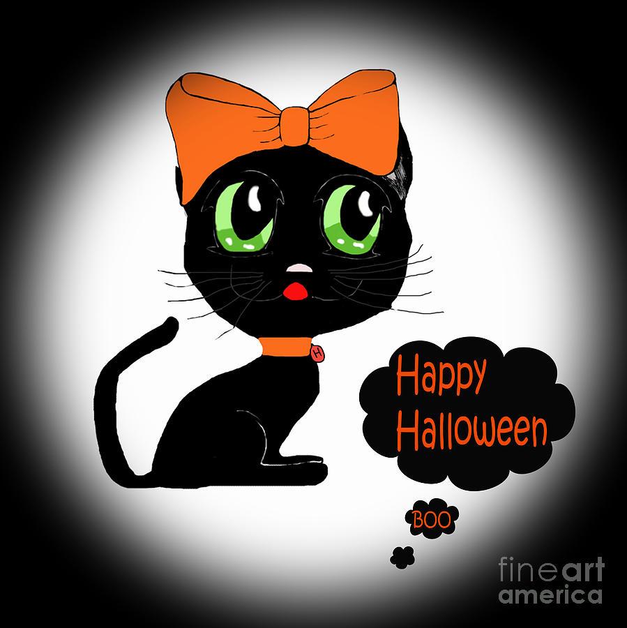 Anime Photograph - Halloween Black Cat by Eva Thomas