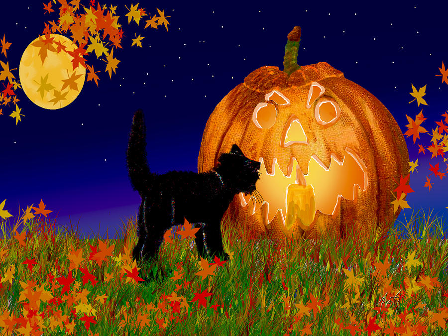 Halloween Painting   Halloween Black Cat Meets The Giant Pumpkin By Michele  Avanti