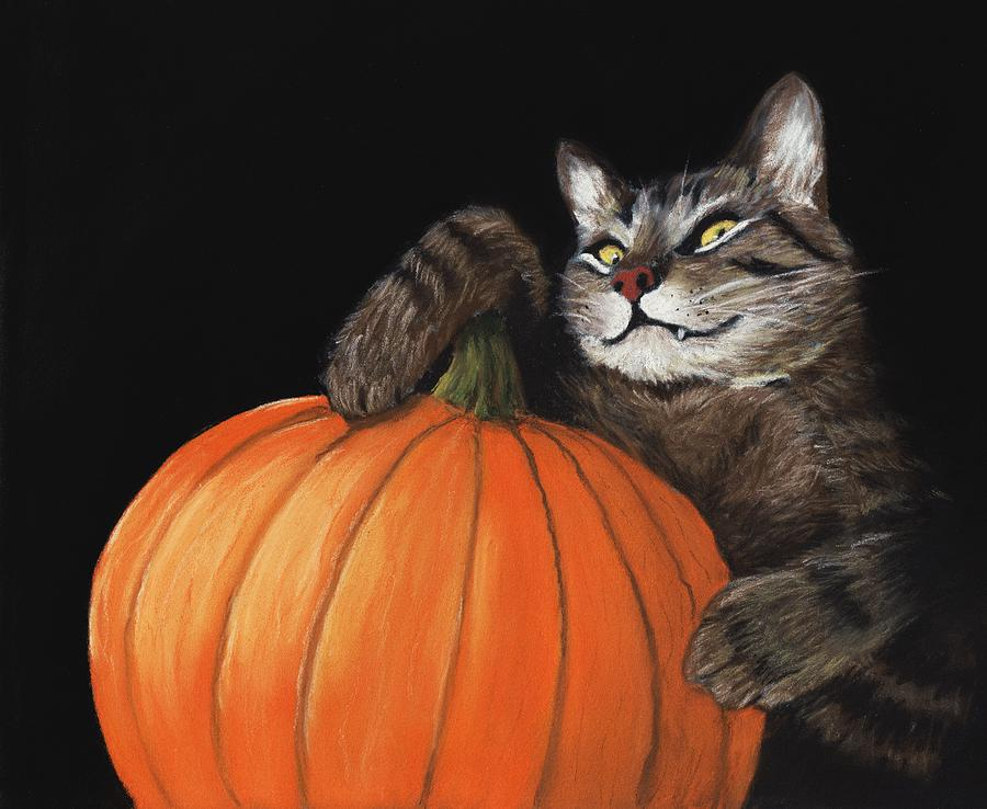 Cat Painting - Halloween Cat by Anastasiya Malakhova