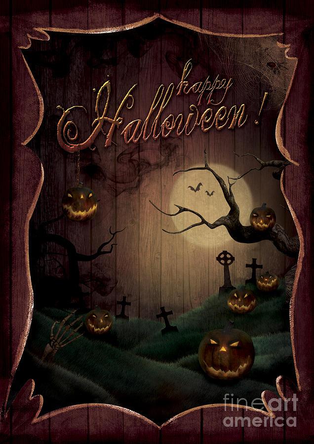 Halloween Digital Art - Halloween Design - Pumpkins Theatre by Mythja  Photography